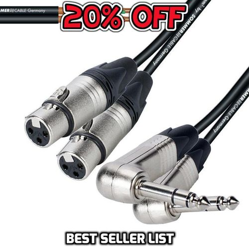 "Twin Right-Angle 1/4"" TRS To Twin Female XLR NP3RX - NC3FXX 