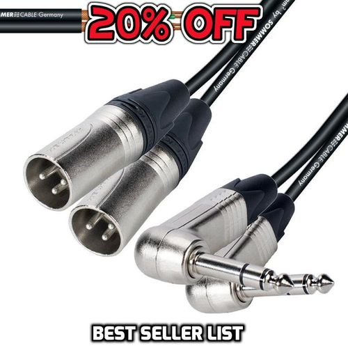 "Twin Right-Angle 1/4"" TRS To Twin Male XLR NP3RX - NC3MXX 