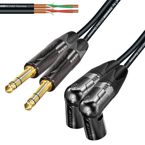 "Twin 1/4"" TRS To Twin Right Angle Male XLR NP3X - NC3MRXB 