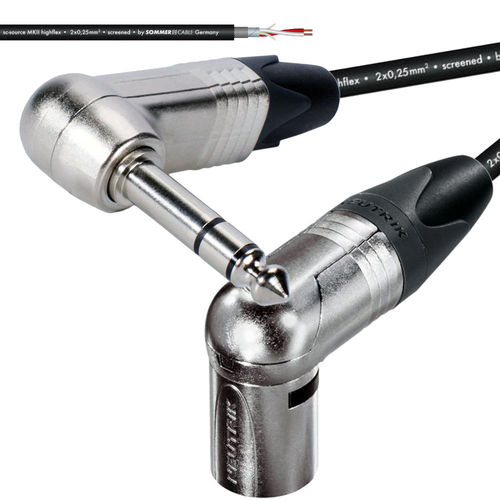 "Neutrik Angle XLR-NC3MRX To Angle 1/4"" TRS-NP3RX Microphone Studio-Cable 
