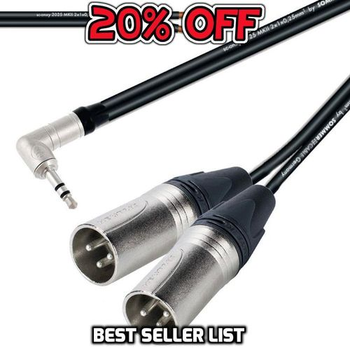 Y Splitter 3.5mm TRS To Twin Male XLR NTP3RC 2 x NC3MRX  | ProCables.Audio